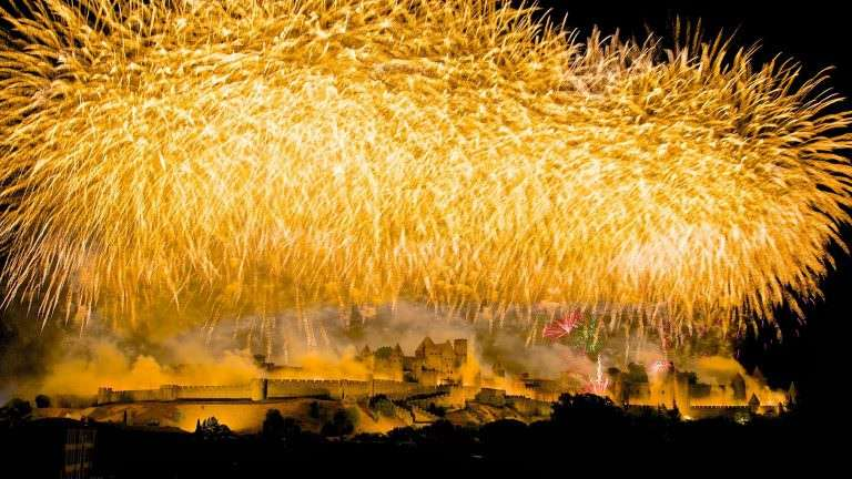 carcassonne, feu d'artifice, cité