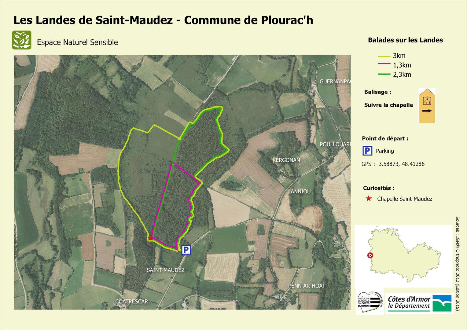 Carte ENS Site Landes de St-Maudez -Plourac'h