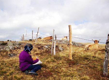 Dessin randonnée et détente en Aubrac