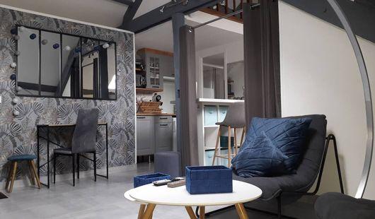 Agréable et confortable studio WIFI coin chambre deux lits.